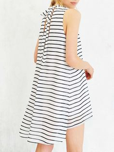 White Sleeveless Striped High Low Dress