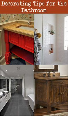 Reds and oranges are high-energy colors. If you need outside support to awaken and prepare inside the morning, these mood-boosting colors can give you a little additional push. Bathroom Red, Bathroom Vanity, Bathroom Colors, Small Bathroom Decor, Bathroom Decor, Small Bathroom Layout, Tile Bathroom, Bathroom Items, Bathroom