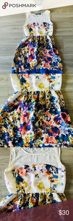 "Zara Floral Multicolored Sun Dress Zara dress in good condition very cute for spring and summer   L 32"" W 23"" Zara Dresses Midi"