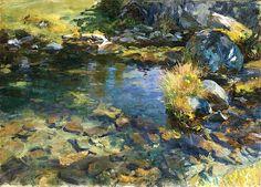 """ John Singer Sargent (1856-1925) Alpine Pool (1907) oil on canvas 69.9 x 96.5 cm """