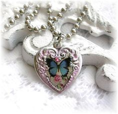 Victorian Vintage Style Heart Charm Butterfly Pendant by TheVintageHeart, $15.00