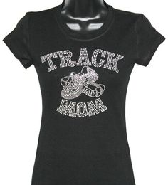 ON SALE - Track & Field Mom Rhinestone Bling T-Shirt (Size Fitted SMALL) by TheTeeShirtMakers, $14.99