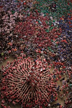 Concurs de Castells 34 (the human tower competition held in the region of Catalonia, Spain) by David Oliete, Tarraco Arena Plaça, Tarragona * ♡ © ƦƠχƛƝƛ ƬƛƝƛ ♡ World Festival, Barcelona Catalonia, Festivals Around The World, Balearic Islands, We Are The World, Aerial Photography, Space Photography, Spain Travel, Aerial View