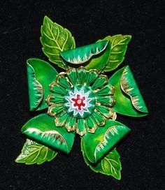 signed hattie carnegie flower brooch