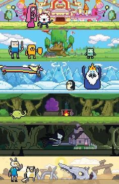 """mikegaboury: """" Adventure Time: The Game I spent a month of my free time making an Adventure Time game intro, yes it's fake, I apologize if this disappoints you. Adventure Time Games, Adventure Time Tattoo, Pixel Art, Studio Ghibli, Adveture Time, Land Of Ooo, Steven Universe, Gaming Posters, Jake The Dogs"""