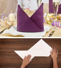 Video-Tutorial Serviette falten: Bischofsmütze   Napkin folding http://www.hotelwaesche.de/servietten-falten