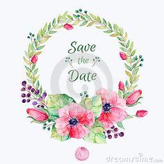 Flores del vector fijadas Colección floral colorida con las hojas y las flores, acuarela de dibujo