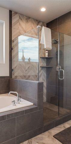 50 new ideas for bathroom shower design tile herringbone pattern Bathroom Renos, Bathroom Flooring, Bathroom Renovations, Master Bathroom, Home Remodeling, Modern Bathroom, Bathroom Showers, Bathroom Gray, Bathtub Tile