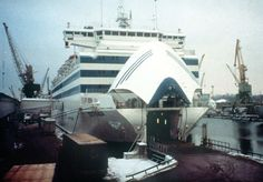 The bow door of the MS Estonia opens for vehicle parking in preparation for its regular trip from Tallin, Estonia to Stockholm, Sweden. Near 01:00 the night of September 28, 1994, the bow door inexplicably opened during a tempest in the Baltic Sea, inverting the ship 90 degrees within 15 minutes. 852 people died, the worst peacetime disaster since the 'Titanic' in 1912.