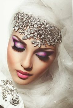 Arab hijab bride headpiece