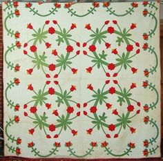 MUSEUM QUALITY Pre-Civil War Red & Green Applique Quilt SIGNED & DATED 1854! eBay french72