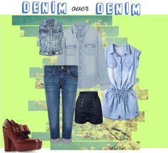 """denim over denim"" by mutiadina on Polyvore"