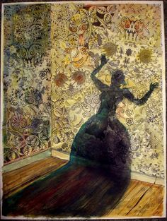 """""""The Yellow Wallpaper"""". The women behind the wallpaper represents the narrator and her trapped, depressed ways."""