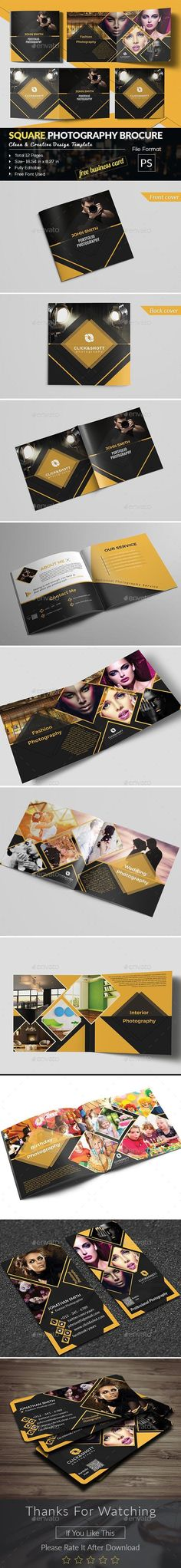 Buy Photography Portfolio Brochure With Business Card by Ancient_Ego on GraphicRiver. This is a Square Photography Brocure. This Card can be used f. Stationery Printing, Stationery Design, Brochure Design, Brochure Template, Photography Portfolio, Photography Brochure, Print Design, Graphic Design, Print Templates