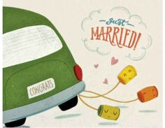 """Cute little smiling cans hang from the back of a wedding car with a license plate that reads """"CONGRATS"""" - how clever! Wedding Cards Handmade, Greeting Cards Handmade, Car Card, Color Crafts, Paper Cards, Just Married, Scrapbook Cards, Wedding Cars, Philippines"""