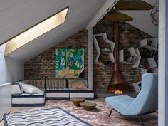 Appartement moderne avec déco mural original par Detali