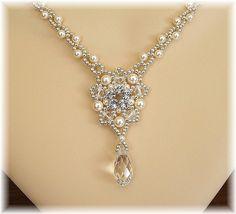 Majestic Wedding Necklace Ivory Swarovski by BridalDiamantes, $140.00