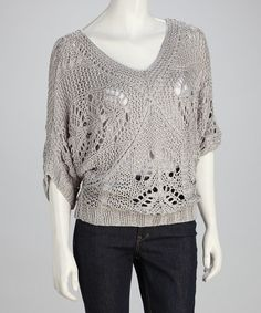 Take a look at this Silver Gray Crochet Dolman Sweater by Sister's on #zulily today!