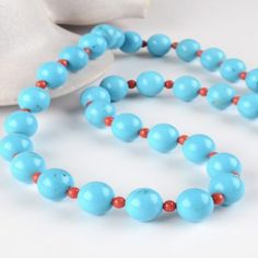 Turquoise & Coral Beads Necklace $211.99