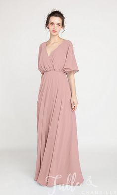 V-Neck Sleeved Long Bridesmaid Dress with Open Back TBQP385 click for 40+ colors