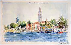 L'acquerello: un mondo di colori: Burano: l'isola dei colori. - Attracco all'isola di Burano by L.Spagnolo