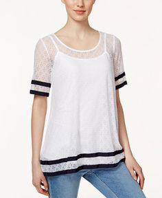 Charter Club Short-Sleeve Lace Top, Only at Macy's