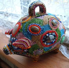 Stunning Beaded  Pig, Piggy Bank. $450.00, via Etsy.