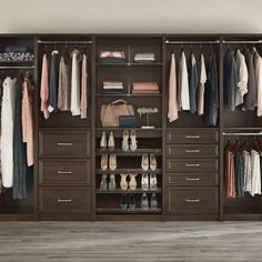 You care about the details. Shouldn't you have a closet that allows you to show them off?  Featured: SpaceCreations Premier in Dark Java   #ClosetMaid #ClosetGoals #ClosetOrganization #WeekendProject Stylish Bedroom, Weekend Projects, Closet Bedroom, Kitchen Pantry, Closet Organization, Storage, Java, Home Decor, Purse Storage
