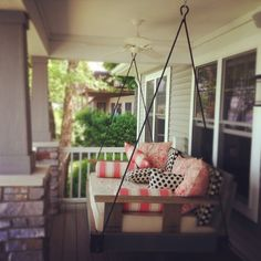 lake cottage porch swing is a dream. Cottage Porch, Lake Cottage, Cottage Living, Cottage Style, Lakeside Living, Outdoor Living, Fresco, Decks And Porches, Porch Decorating