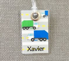 Trash Can - Trash Truck Backpack Tag, Diaper Bag, Luggage & More! by CaliLilyBoutique on Etsy https://www.etsy.com/listing/462282097/trash-can-trash-truck-backpack-tag