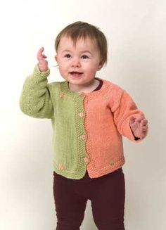 Running Stitch Child Cardie Pattern by Knit One, Crochet Too in easy-care DungarEase yarn.