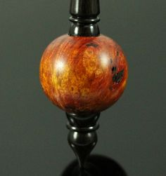 Bead spindle in hand dyed maple burl and African blackwood / Woodland Woodworking