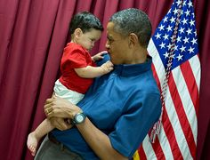 """This youngster gave the President a look, which he returned; the next photo shows what happened next."""""""