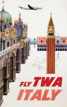Fly TWA Italy by David Klein (1955)