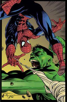 Spider-Man vs Hulk by Dave Ross