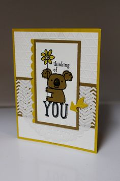 "Stamp-a-Stack July 2014 with demonstrator Dianna Nicholson. Stampin Up: ""Kind Koala"" stamp, designer paper"