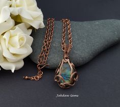 Labradorite and Copper Handmade Pendant on a Solid Copper Chain by JakdawGems on Etsy