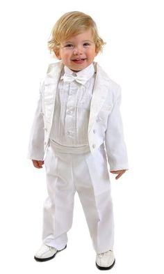 5tlg Kinderanzug,Kommunionsanzug,Taufanzug,Frack Angelo weiß Gr.80
