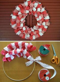 Easy Ribbon Wreath! Perfect for the Holidays! #easywreath #holidaywreath #ribbonwreath
