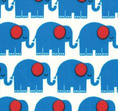 Blue Elephants Fabric by Tim and Beack For Moda por BroddersTubs
