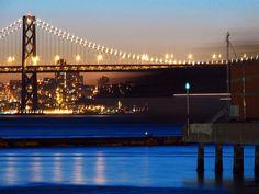 ah bay bridge lit-up.