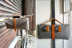 Saddle bag - looks like a clutch-bag off the bike! From 40 Rad Bike Gadgets to Rock Your Ride via Brit + Co. Bicycle Lock, Bicycle Bell, National Bike Month, Bike Gadgets, Velo Design, Bike Shelf, Buy Bike, Cool Bike Accessories, Leather Accessories