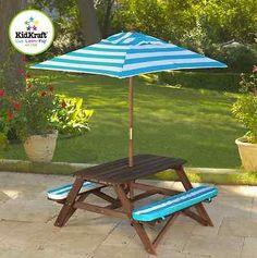 Kidkraft Picnic Table Umbrella Bench Fun Sun Set Kids Wooden Garden Cushion  Blue
