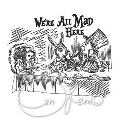 MACHINE EMBROIDERY DESIGN  Mad hatters tea party Alice by OTKETO