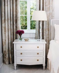 One of our newer pieces, the versatile Liam Three Drawer Dresser can be used as a small chest or nightstand. It features beautiful, classic lines and a soft white finish with gray undertones. Three Drawer Dresser, Dresser Drawers, Dresser As Nightstand, Swedish Design, Furniture Collection, Traditional Design, Modern Classic, Bedroom Decor, Bedroom Furniture