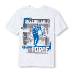 s Boys Short Sleeve 'Unstoppable Force' Football Player Graphic Tee - White T-Shirt - The Children's Place