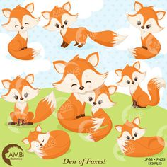 Fox clip art, Cute fox clipart, Fox love clipart, mother and baby fox, forest creatures, forest critters, commercial use,AMB-1346