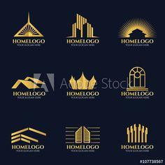 Golden home logo vector set design Design Loft, Design Studio, Set Design, Real Estate Logo Design, Best Logo Design, Graphic Design, Corporate Logo Design, Business Card Design, Identity Design