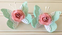 Shabby Pink Handmade Paper Rose Flower Lace Aqua Blue Butterfly Embellishments Set of 2