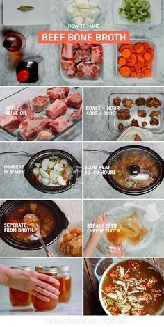How To Make Bone Broth (Paleo, Keto, Recipe) - - Take advantage of bone broth benefits with rich bone broth recipe made with roasted beef bones and vegetables. Step-by-step pictures. Slow Cooker Recipes, Beef Recipes, Soup Recipes, Cooking Recipes, Healthy Recipes, Beef Broth Recipe Slow Cooker, Bone Broth Soup, Bone Broth Crockpot, Bone Marrow Broth
